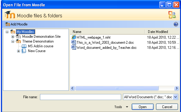 Office add-in for Moodle - MoodleDocs