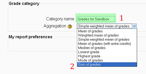 Changing the category name for the course and the aggregation method