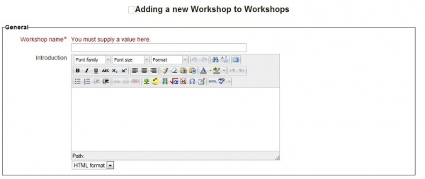 """The form shown when adding a new workshop"""