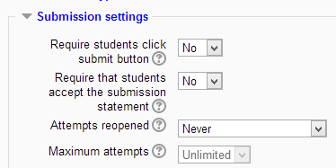 Submission settings