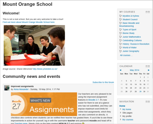 View of a simple Front Page, displaying what a Student might see when logged in