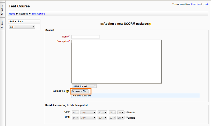 Moodle 1.9 SCORM Setting Page