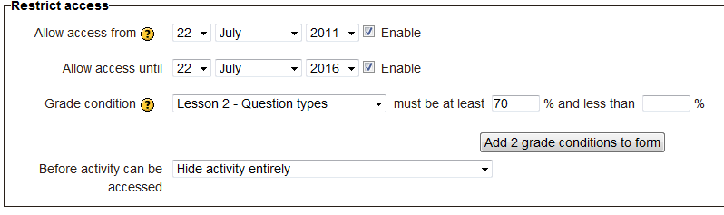 Example of a Restrict access setting