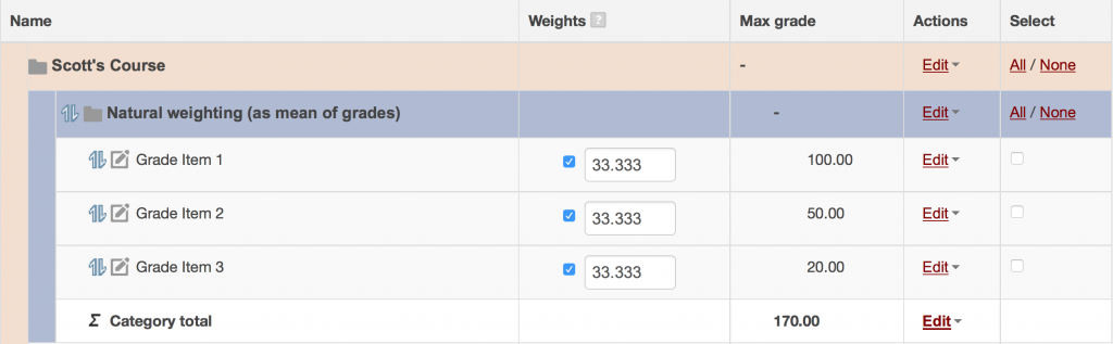 Natural weighting as a sum of grades with custom weights