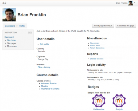 user profiles moodledocs