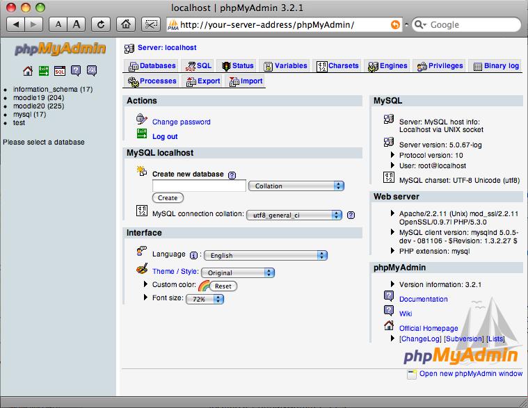 phpmyadmin mac os x 10.5