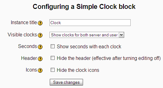 Configuration page for the Simple Clock block