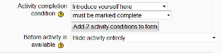 """must be marked complete/hide activity entirely"""