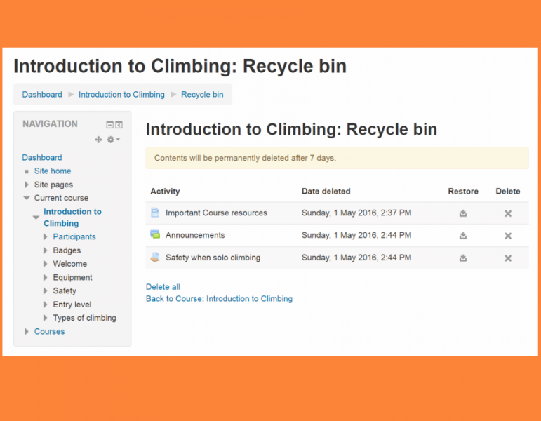 screenshot of a recycle bin recovery