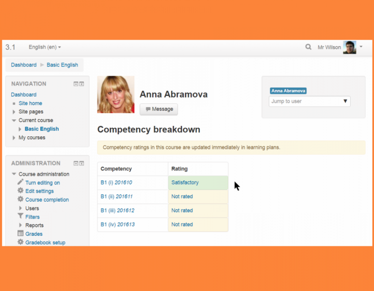 Competency Learning Plan Screenshot