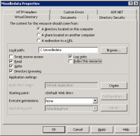 Virtual directory properties correctly configured