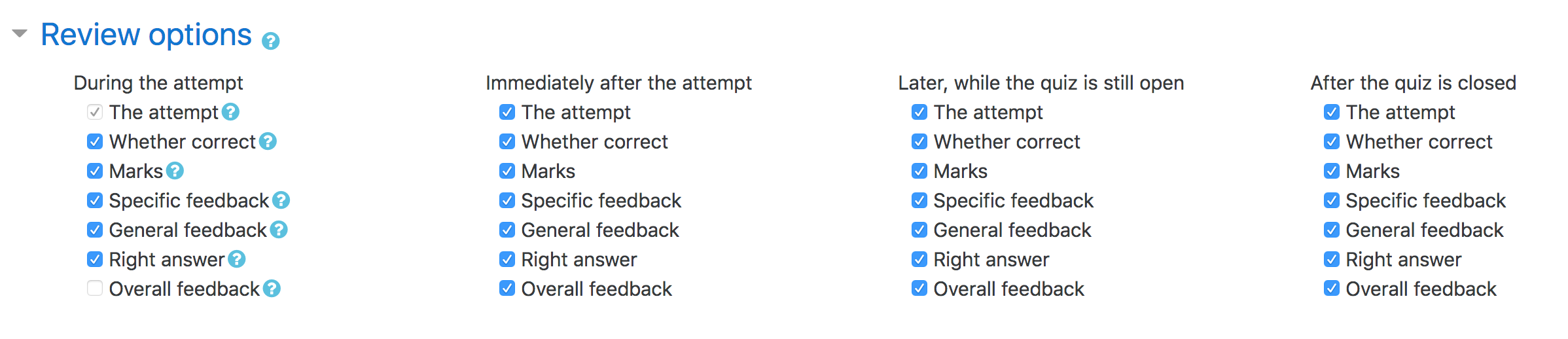 Quiz review options