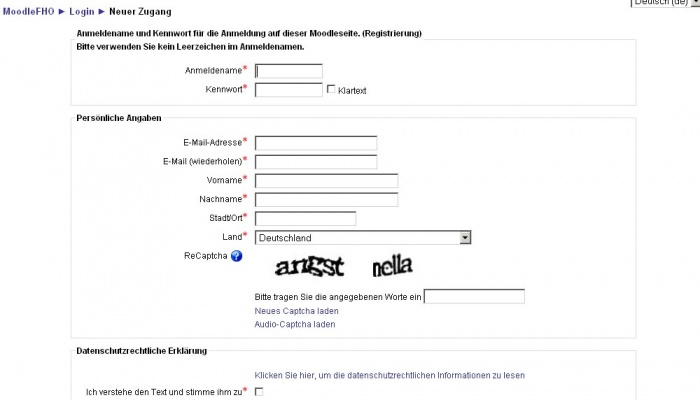Registrierungsformular mit Captcha Element