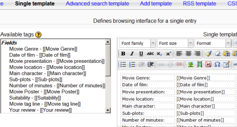database templates - moodledocs, Database Presentation Template, Presentation templates