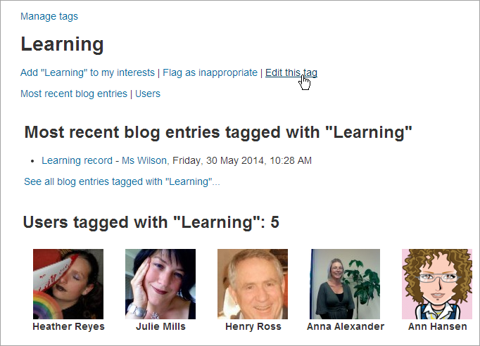 Moodle Tag page example