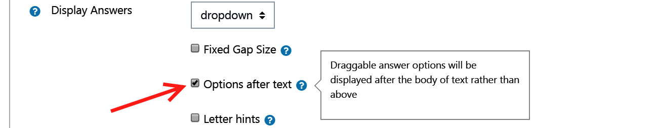 Checkbox to display options after text