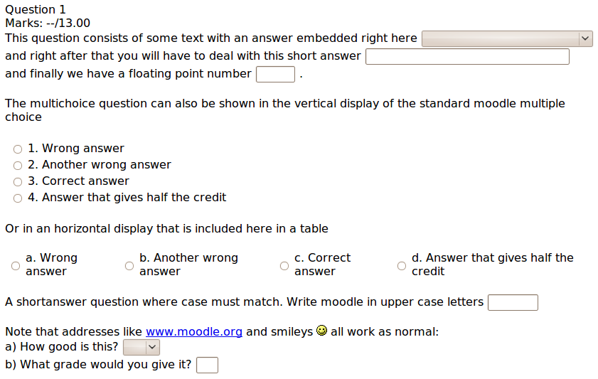 embedded answers cloze question type moodledocs