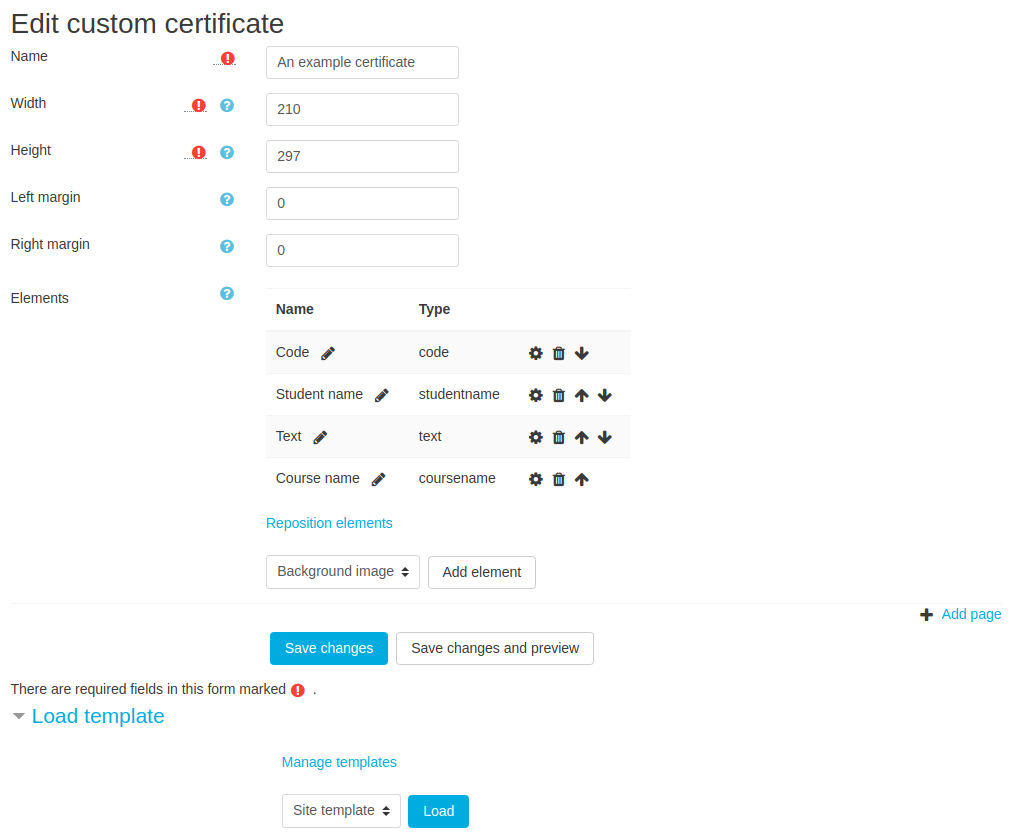 Custom certificate edit page with items.png