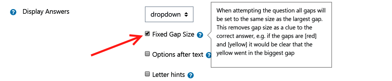 Fixed Gap size checkbox