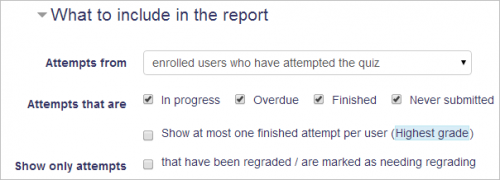 quiz reports moodledocs