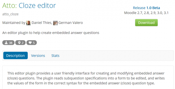Atto cloze editor available in Moodle plugins database.png