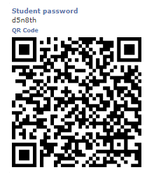 Display password and QR code to students