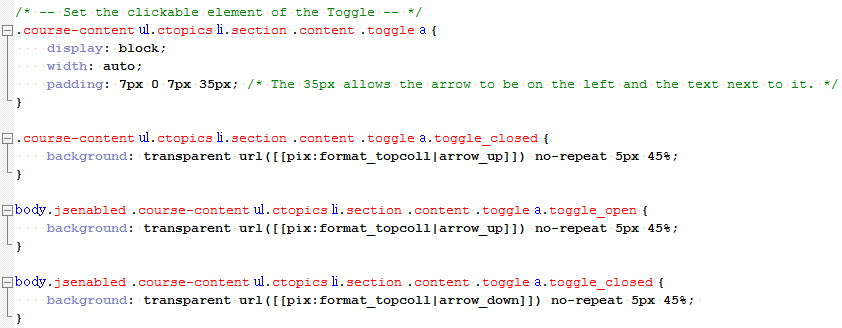 Toggle arrow css