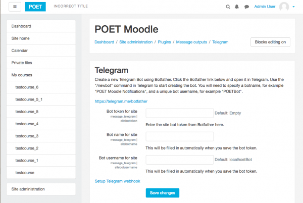 Telegram message processor - MoodleDocs