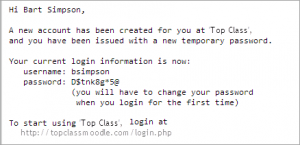generate username and password php