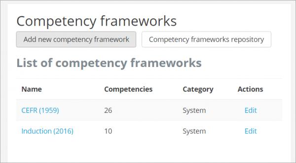 Competency Frameworks Moodledocs