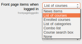 Front page items AFTER login