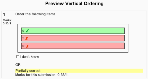 screenshot of finished vertical ordering
