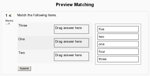 screenshot of drag-and-drop matching question