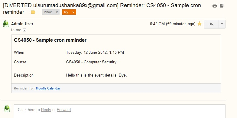 Email Reminders For Calendar Events  Moodledocs