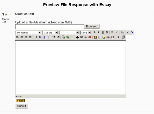 screenshot of file response question