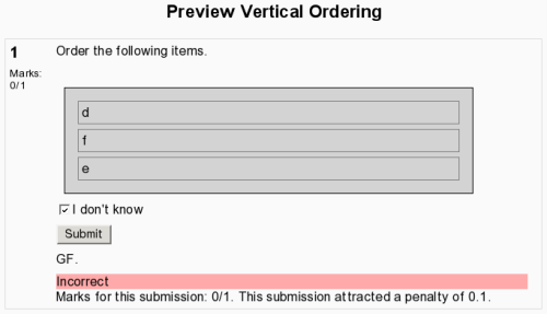 screenshot of vertical ordering with no response submitted