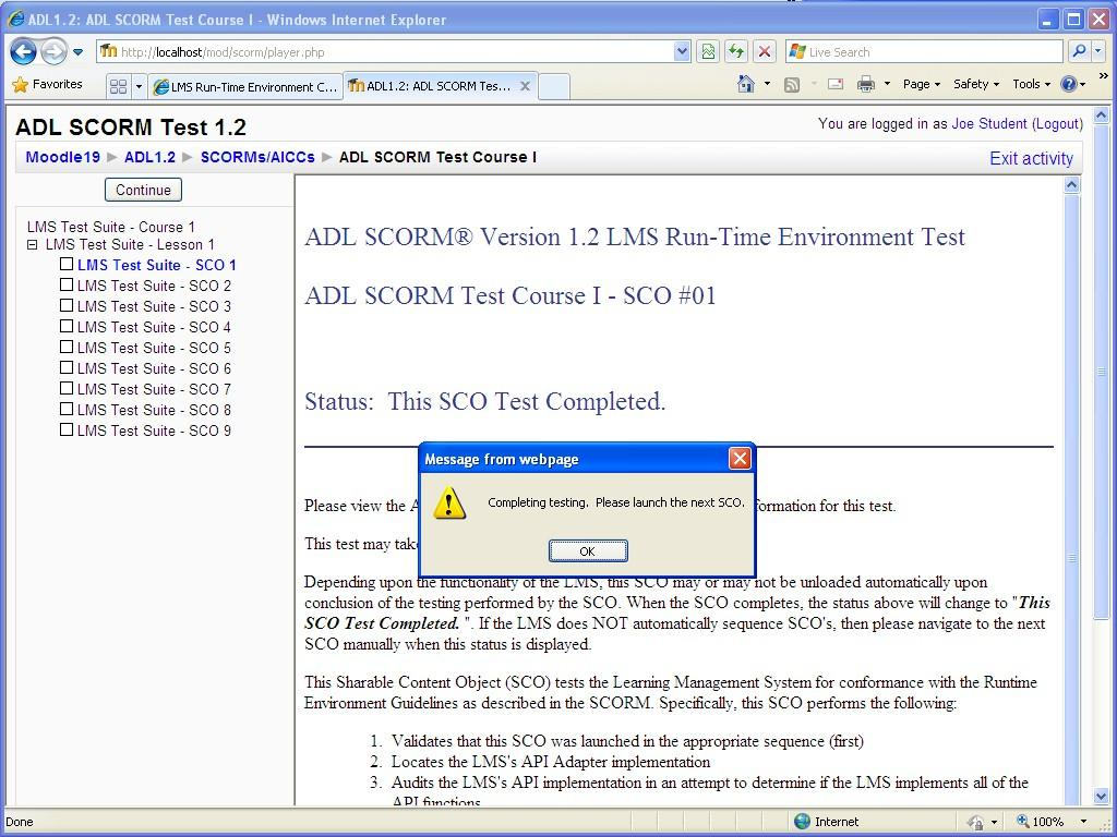 SCORM 1 2 compliance test instructions - MoodleDocs