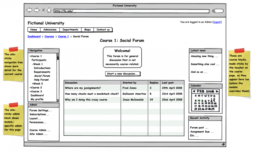 Example Activity page, showing site blocks, course blocks and local admin block