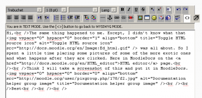 Example of HTML code for content area in a forum post